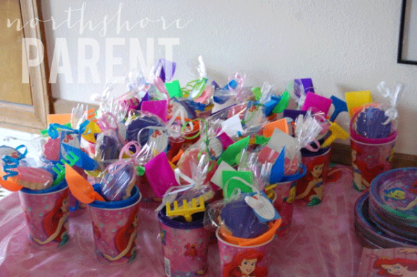 ariel party favors a beach bucket with tools