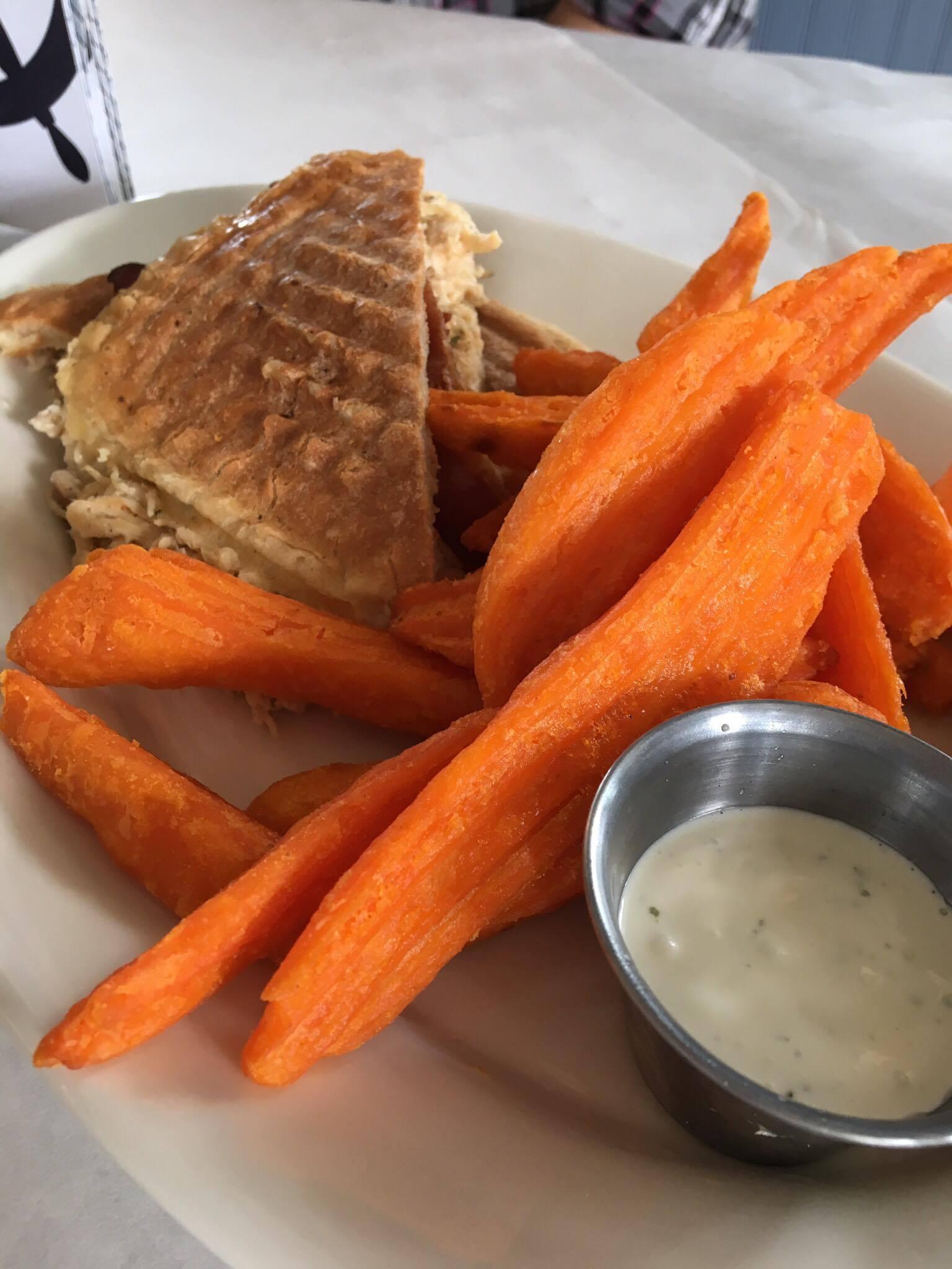 cordon bleu panini with sweet potato fries