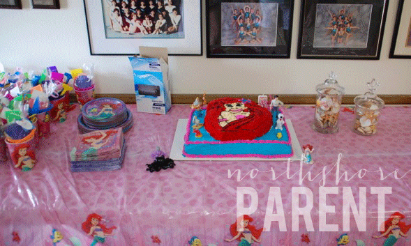 ariel party cake table