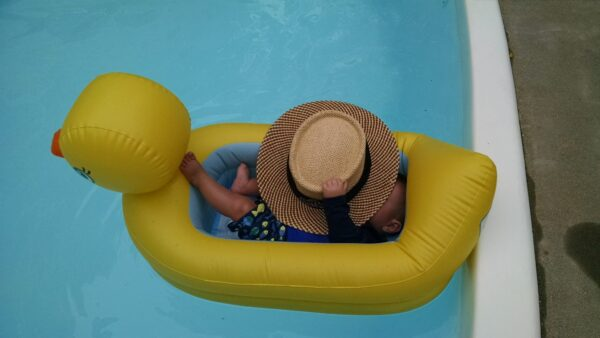 baby floats in a duck shaped pool float