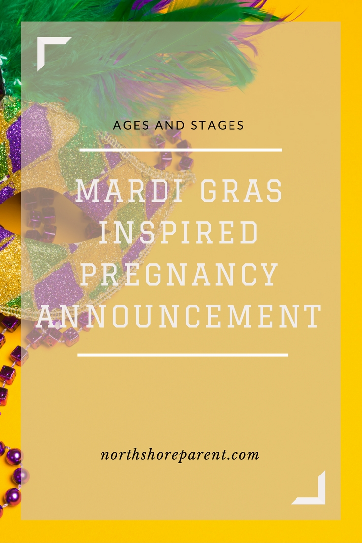 Mardi Gras-Inspired Pregnancy Announcement