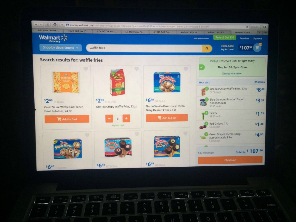 walmart grocery to go user interface