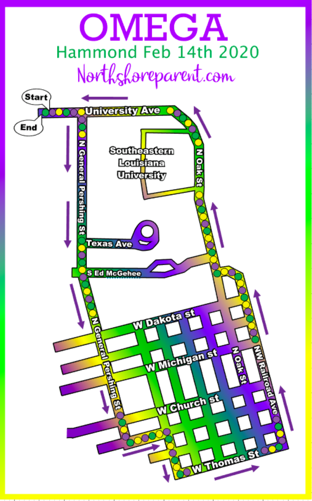 map of the krewe of omega parade route